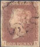 1841 1d Red SG8 Plate 24 'IK'